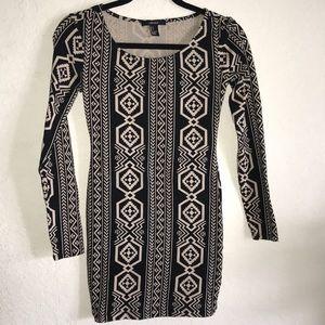 🆕 Aztec bodycon stretchy long sleeve mini dress